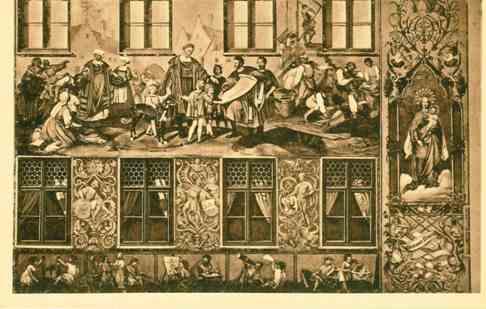 Fuggerpalast - Fassadenbild Jakob Fugger stiftet die Fuggerei (Postkarte)