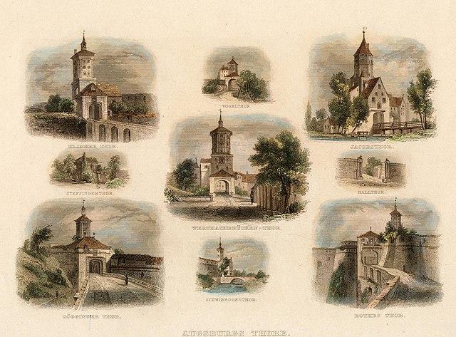 Postkarte Augsburg Thore (1846, Johann Gabriel Friedrich Poppel, gemeinfrei)