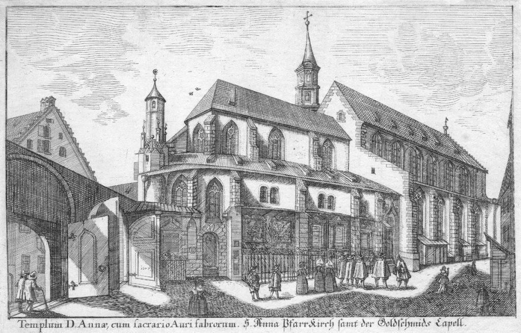 St-Anna-Kirche in der Ansichtensammlung Augusta Vindelicorum von Simon Grimm, 1704