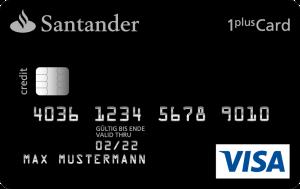 Muster einer Santander-Visa-Card 1plus